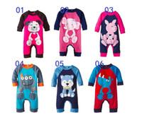 120pcs 6 colores niños mamelucos animales impresa mono de Onesies ropa de algodón mameluco del bebé de dibujos animados traje de navidad traje de mameluco