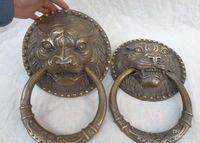 lion statue - China Bronze FuGui JiXiang Lion Head Statue Mask BiXie Trigram Door Knocker Pair