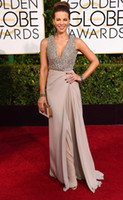 ash train - Kate Beckinsale nd Golden Globe Celebrity Dresses Metalic Ash Chiffon V Neck Sleeveless Beads Sweep Train Side Split Red Carpet Dress