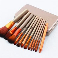 Wholesale 2015 newest Nude Makeup Brushes Nude piece Professional Brush sets Gold iron box package
