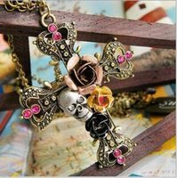 Cheap Punk Style Retro Cross With Rose Flower Crystal Diamond Skull Pendant Necklaces