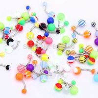 Wholesale Of Mix Color Stainless Acrylic Ball Barbell Bar Navel Belly Button Ring New order lt no tracking