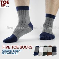 cotton five toe socks - Men casual striped Breathable toe Socks five finger cotton sports socks