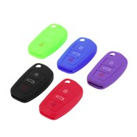 audi key chains - Silicone Car auto Key Cover Case Shell Flip Key Cap buttons Remote control for Audi key protector key chain car styling