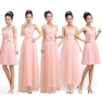 Wholesale Short Bridesmaid Dresses Party Dress Short Bridesmaid Dresses Womens Sweet Pink and Lace Party Dress Hot Womens Waist and Bowknot Evening