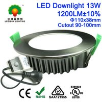 Wholesale 100mm Cutout Recessed Nickel LED Down Light Watt LM Degrees Angle with Au Plug Dimmable Accent LED Lights Commercial Lighting