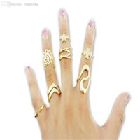 Wholesale Different Styles Gold Rings For Women Austrian Crystal Hollow Out Five Star Four Leaf Clover Ring Fine Jewelry CEV