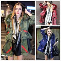 long down coat - 2014 Fashion New Style Original Design Women Long Down Coat With Luxury Real Racoon Fur Collar Parka Army Street Style Down Coat DTT18