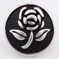 alloy drip - Popular fashion elegant artistical rose flower with black drip embossment pattern snap alloy button fit bracelet
