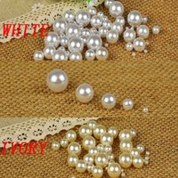 Wholesale No Hole Round Pearls Mixed Size White Imitation Pearls Craft Art Diy Beads ABS Resin High Luster And Good Quantity Shiny