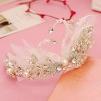 ballet tiara - White Swan And Feather Tiara cm Bridal Head Accessories Crystal Rhinestones Luxury Wedding Tiara Custom Made Ballet Head Wear