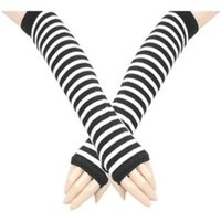 avenue men - pieces Leg Avenue White Black Stripe Gothic Arm Warmers Gloves Anime Cosplay Punk Pinup Dance