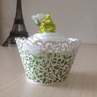 Wholesale laser cut cupcake wrappers cupcake papers wedding white wrappers wedding party favor box