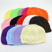 achat en gros de main crochet tricot-Warm Winter mignon nourrisson Baby Girl Toddler Enfants main Crochet Beanie tricoté Chapeau Accessoires 12colors 10pcs / lot