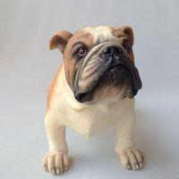 artificial dogs - 2015 New Bulldog Resin Dog European Pop Art Resin Craft Dog Figurine Statue Artificial Dog Best Gift