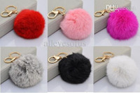 Wholesale cm Round Metal Key Chain Faux Rabbit Fur Bulb Plush Pom Ball Bag Car Ornaments Pendant Key Ring Keychain