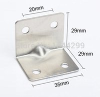 Wholesale 50pcs mm stainless steel angle Corner bracket L shape satin finish frame board shelf support self tapping screws