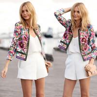 Wholesale Embroidered jacket Women s Ethnic Style Vintage Embroidered Flower Jacket Long Sleeve Round Neck Short Coat Jacket