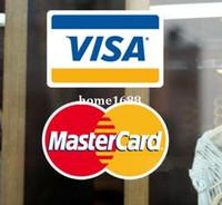 al por mayor tarjetas visa-Pegatinas logotipo de la tarjeta bancaria Envío libre, 5pcs VISA +5 PC etiqueta de la ventana de la puerta logotipo de la tarjeta de crédito MASTERCARD tienda de cristal