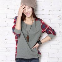 Cheap Women Long Sleeve T shirt Blouse Crew Neck Plaid Checked Casual Loose T-shirts Blouse Top S-XXL Free Shipping