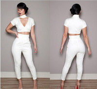 Wholesale Factory outlets new sexy white pants two sets of stylish and elegant evening dress bandage skirt explosion models N161 M L Size