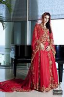 Wholesale Luxury Red Arabic Wedding Dress Maternity Wedding Dresses Long Sleeve Bridal Gown China Long Train Vintage Wedding Dresses Lace SW1015