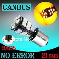 Wholesale 1156 BA15S SMD Amber Yellow CANBUS OBC No Error LED Bulb p21w R5W led car bulbs Car Light Source parking V