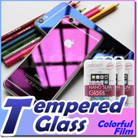 Wholesale For iPhone6 tempered glass i6 Plus i5 i5s galaxy s6 edge Note Front and Back Color Mirror tin tempered glass protector with retail package