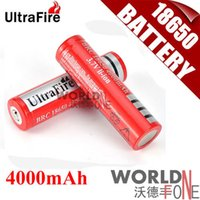 Wholesale Ultrafire Battery mAh V Rechargeable Lithium Battery Red for flashlight WF RB021