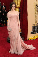 Wholesale Anna Kendrick In Off The Shoulder Celebrity Dresses Mermaid Pleated Prom Dress Red Carpet Sweep Train Chiffon Lace Split Side Eveing Gown