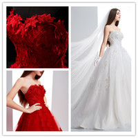 Wholesale 2014 Fashion China Red Ball Bridal Gown Strapless Sweetheart Backless Floor length Custom Made Applique Sexy Red with white Wedding Dresses