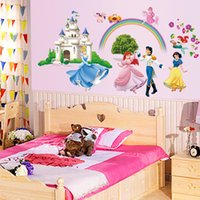 bedroon decor - DIY Child Bedroon Home Decor Art Vinyl Removable Wall Stickers Snow White Castle Mural Decals Removable PVC Large Cartoon Snow White
