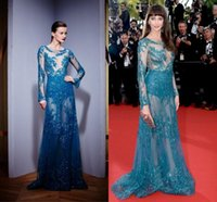 Cheap Zuhair Murad Evening Dresses 2015 Cannes Celebrity Gowns Sheer Lace Applique Beads Illusion Long Sleeve Tulle Prom Dresses See Through