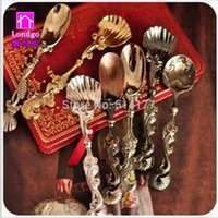 Wholesale 6pcs Carved seasoning cochleare fashion accessories vintage royal wind coffee spoon cochleare tea ice cream spoon small