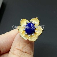 Cheap Fashion 925 sterling silver stereoscopic flower with natural gem huge 9*11mm amethyst,citrine,lapis adjustable ring