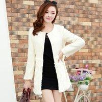 Wholesale 2014 Elegent Fashion New Womens Lady Winter Warm Fur Collar Coat Faux Fur Jacket Trench Coats Outwear Overcoat