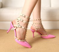 high heel sandals - 2015 Fashion Studded Leather Pointed Stiletto Heel Sandals Slim Straps High Heels Sandals Shining Wedding Shoes for Women SE001