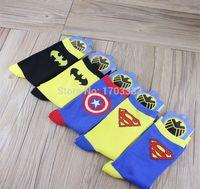Cheap 5 Design Cartoon Cotton Socks Batman Captain America Superman socks Adult socks Wars cartoon cotton socks