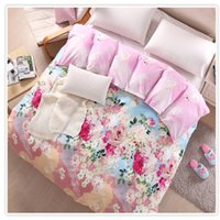 Wholesale 100 Twill Cotton Duvet Sets Pink Chinese Ink Painting Printing Duvet Cover Quilt Cover Comforter Cover Sizes Available Post