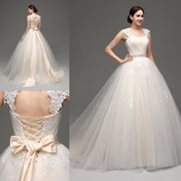 victorian ball gown wedding dresses - Stock Designer Wedding Dresses Ball Gown Cheap Light Champagne Lace Bridal Gowns with Detachable Bolero Tulle Victorian Wedding Dress