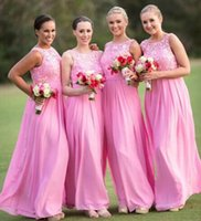 Cheap Cheap Pink Appliqued Bridesmaid Dresses Sheer Jewel Neckline Sleeveless Backless Prom Gown Chiffon Floor Length Pleated Long Evening Dress
