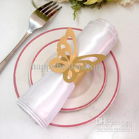 Wholesale New Arrivals Tracking number Gold Color Vintage Style Paper Butterfly Napkin Rings Wedding Bridal Shower Napkin holder