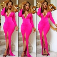 Cheap Sexy Bodysuit Club Wear Party Dress Celebrity Bandage Bodycon Long Dresses Rose