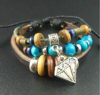 Wholesale Fashion men Bracelets Beaded Strands Bohemian Diamond Pendant hand woven beaded leather bracelet vintage Bracelets Lovers bracelet