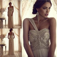Wholesale 2016 Royal Empire Wedding Dresses One Shoulder Beading Crystal Ruffle A Line Sashes Court SummerTrain Fall Autumn Bridal Gowns Vestido