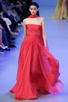 Cheap Sash Evening Dresses Valentino Elie Saab 2016 Red Piping Ruffles Sweep Train Open Back A-Line Pleats Party Pageant Dresses Gown Formal Gowns