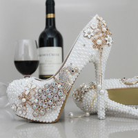 Wholesale Sparkle Beaded Bridal Shoes - Luxury Pearls Wedding Shoes High Heels Sparkle Crystal White Iovry Bridal Party Shoes Free Shipping Elegant Prom Evening Shoes
