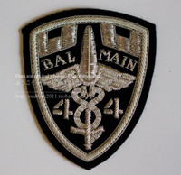 Wholesale European design Balmain silver hand embroidered badges India silk chapter embroidery chapter CM