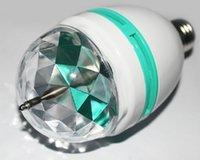 Wholesale 1X Retail RGB Full Color W E27 LED Bulb Crystal Auto Rotating Stage Effect DJ Light Bulb big laser Stage Light