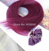 "Cheap STOCK-- ITALIAN Keratin flat tip hair extensions Human Remy Hair 20"" 1g s100g #burgundy"